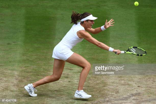 during the women's semifinals match of the 2017 Wimbledon on July 13 at All England Lawn Tennis and Croquet Club in London England