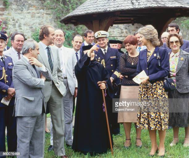 During their official trip to Romania the Spanish Kings Juan Carlos and Sofia visit the monastery of Voronet Romania