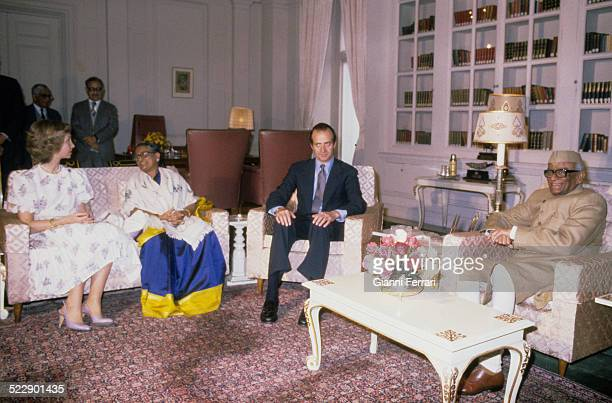 During their trip to India the Spanish Kings Juan Carlos of Borbon and Sofia of Greece in a meeting with the Indian President Neelam Sanjiva Reddy...