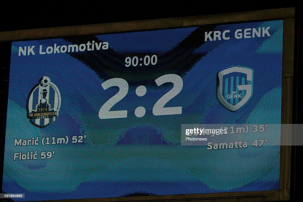 during UEFA Europa League play off round 1st Leg match between Lokomotiva Zagreb and KRC Genk on August 18 2016 in Zagreb Croatia via Getty Images