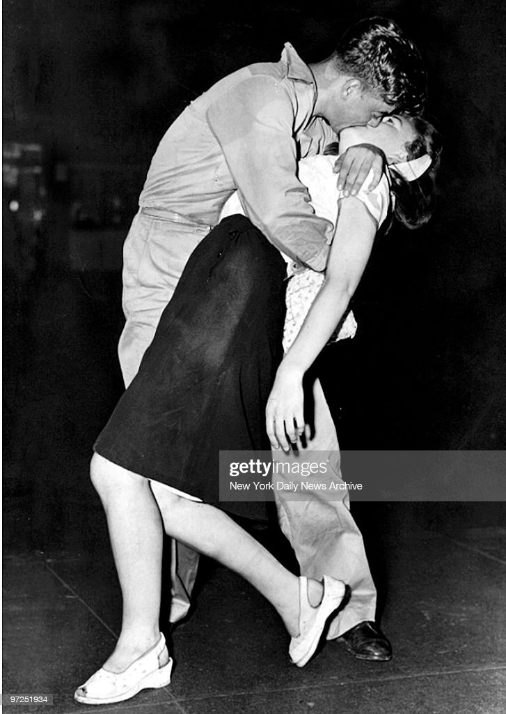During Victory in Japan Day (VJ Day), a sailor and his girl share a victory kiss in Times Square.