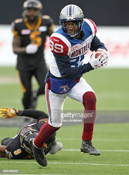 Duron Carter of the Montreal Alouettes breaks a play against the Hamilton TigerCats during the CFL football Eastern Conference Final at Tim Hortons...
