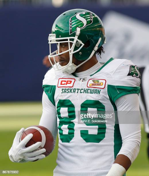 Duron Carter of the Saskatchewan Roughriders after a catch against the Toronto Argonauts during a game at BMO field on October 7 2017 in Toronto...