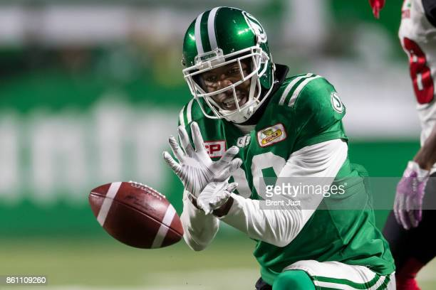 Duron Carter of the Saskatchewan Roughriders celebrates after another reception in the game between the Ottawa Redblacks and Saskatchewan Roughriders...