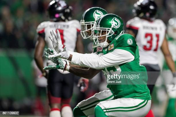 Duron Carter of the Saskatchewan Roughriders celebrates after making a catch in the game between the Ottawa Redblacks and Saskatchewan Roughriders at...