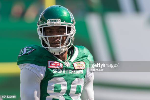 Duron Carter of the Saskatchewan Roughriders on the field for pregame warmup before the game between the Toronto Argonauts and Saskatchewan...