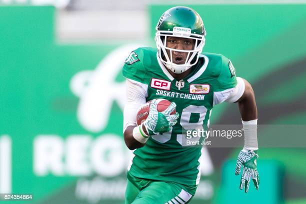 Duron Carter of the Saskatchewan Roughriders runs after a catch in the game between the Toronto Argonauts and Saskatchewan Roughriders at Mosaic...