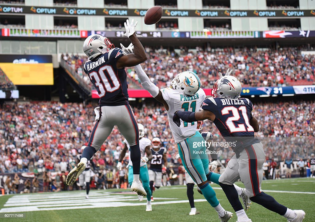 Duron Harmon #30 of the New England Patriots intercepts a pass in the end zone during the fourth quarter against the Miami Dolphins at Gillette Stadium on September 18, 2016 in Foxboro, Massachusetts.