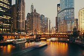 DuSable bridge at twilight, Chicago, Illinois, USA.