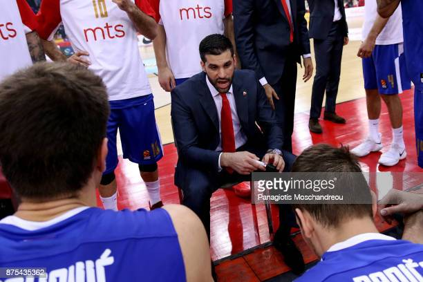Dusan Alimpijevic Head Coach of Crvena Zvezda mts Belgrade gives directions to his players during the 2017/2018 Turkish Airlines EuroLeague Regular...