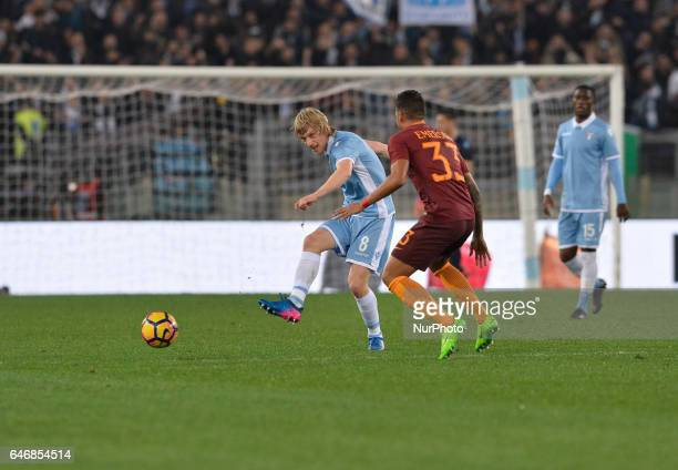 Dusan Basta Emerson Palmieri during the Tim Cup football match SS Lazio vs AS Roma at the Olympic Stadium in Rome on march 01 2017