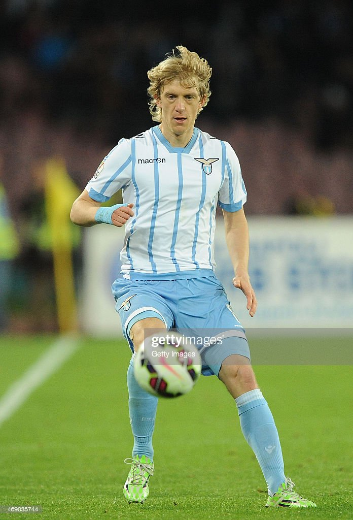 Dusan Basta of Lazio in action during the Tim cup match between SSC Napoli and SS Lazio at the San Paolo Stadium on April 8, 2015 in Naples, Italy.