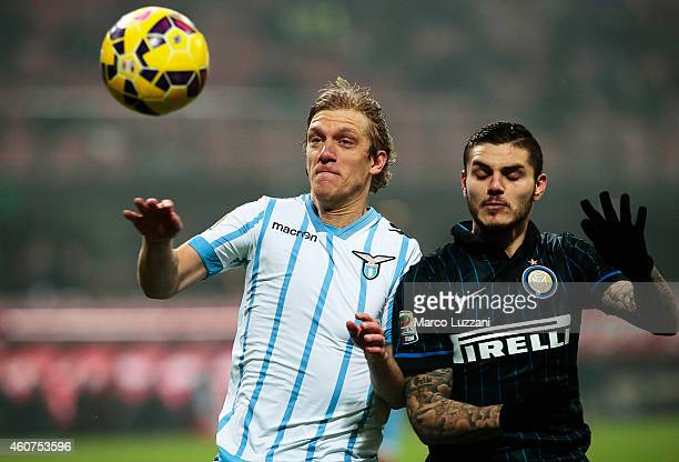 Dusan Basta of SS Lazio competes for the ball with Mauro Emanuel Icardi of FC Internazionale Milano during the Serie A match betweeen FC...
