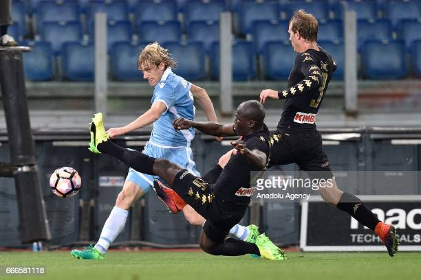 Dusan Basta of SS Lazio in action against Kalidou Koulibaly of SSC Napoli during Italian Serie A soccer match between SS Lazio and SSC Napoli at...