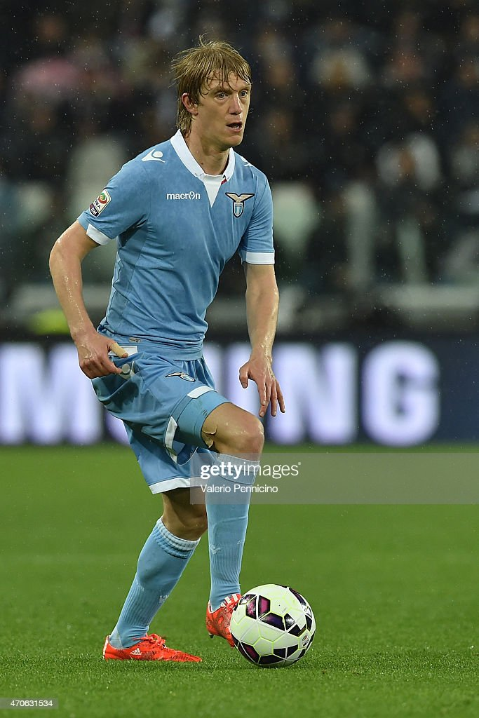 Dusan Basta of SS Lazio in action during the Serie A match between Juventus FC and SS Lazio at Juventus Arena on April 18, 2015 in Turin, Italy.