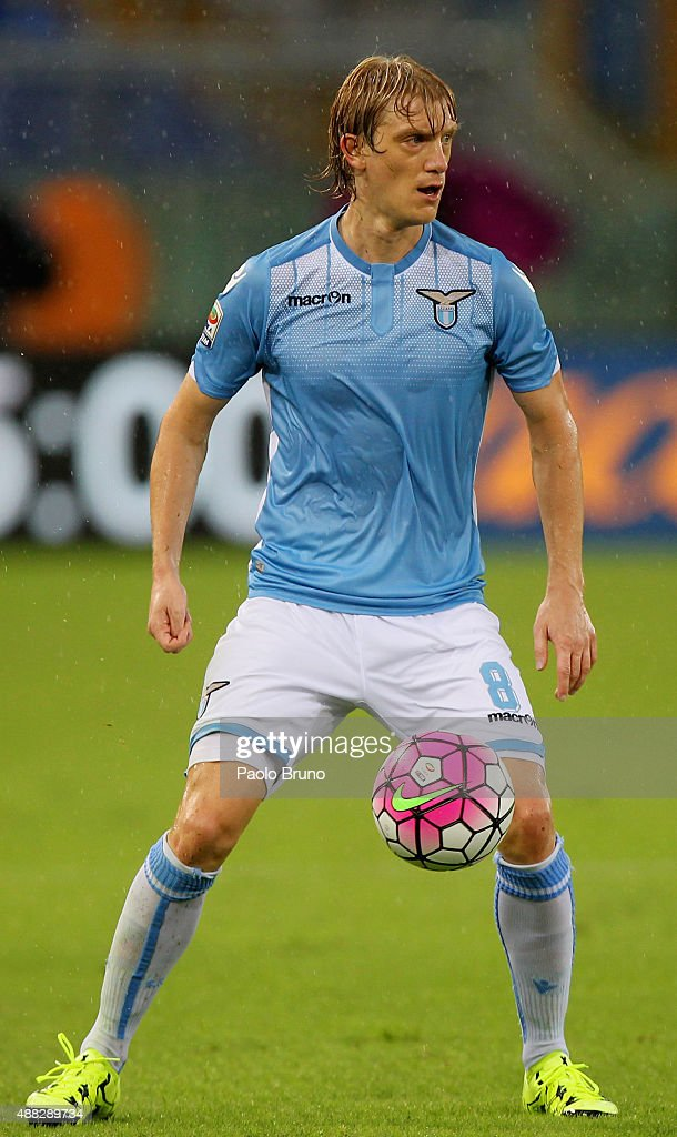 Dusan Basta of SS Lazio in action during the Serie A match between SS Lazio and Udinese Calcio at Stadio Olimpico on September 13, 2015 in Rome, Italy.
