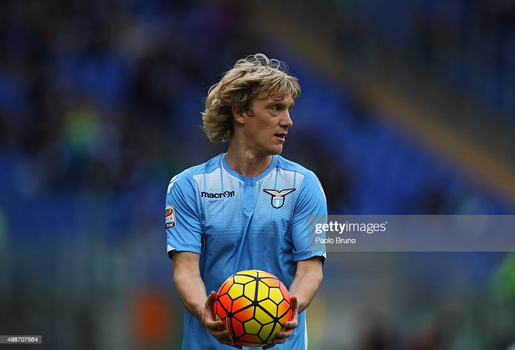 Dusan Basta of SS Lazio looks on during the Serie A match between SS Lazio and US Citta di Palermo at Stadio Olimpico on November 22, 2015 in Rome, Italy.