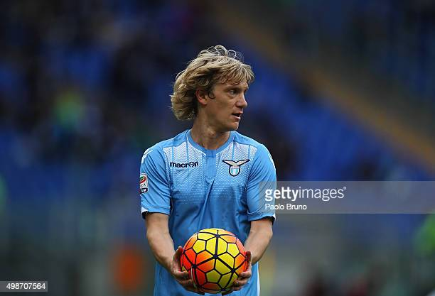 Dusan Basta of SS Lazio looks on during the Serie A match between SS Lazio and US Citta di Palermo at Stadio Olimpico on November 22 2015 in Rome...