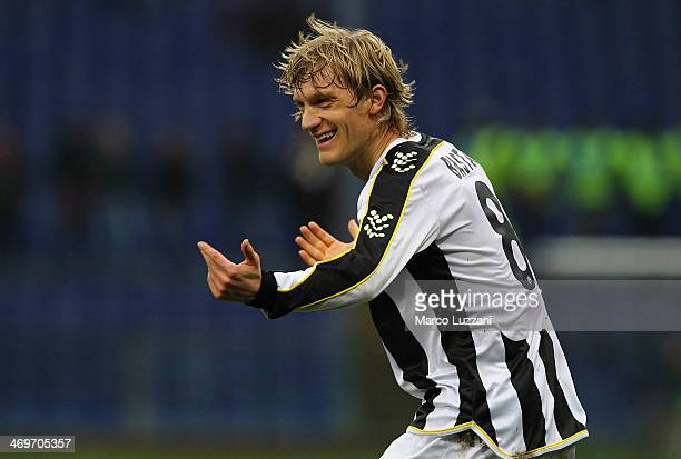 Dusan Basta of Udinese Calcio celebrates after scoring the opening goal during the Serie A match between Genoa CFC and Udinese Calcio at Stadio Luigi...