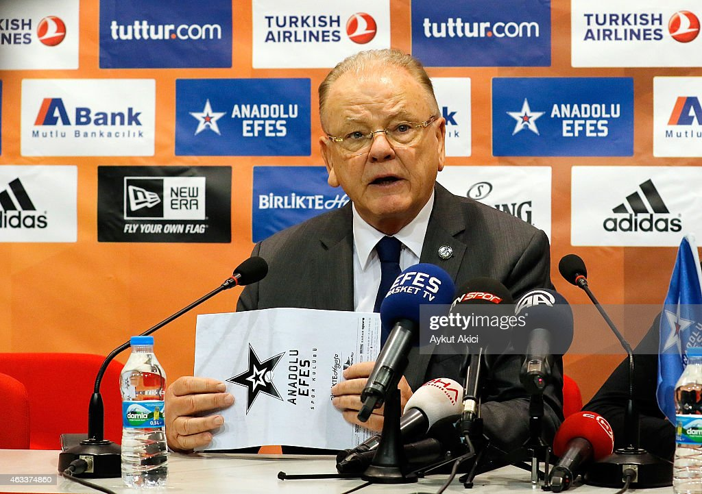Dusan Ivkovic, Head Coach of Anadolu Efes Istanbul amswers questions from the media at press conference prior to the Turkish Airlines Euroleague Basketball Top 16 Date 7 game between Anadolu Efes Istanbul v Fenerbahce Ulker Istanbul at Abdi Ipekci Arena on February 13, 2015 in Istanbul, Turkey.