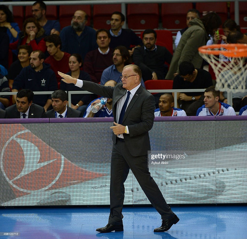 <a gi-track='captionPersonalityLinkClicked' href=/galleries/search?phrase=Dusan+Ivkovic&family=editorial&specificpeople=692169 ng-click='$event.stopPropagation()'>Dusan Ivkovic</a>, Head Coach of Anadolu Efes Istanbul reacts during the 2014-2015 Turkish Airlines Euroleague Basketball Regular Season Date 3 game between Anadolu Efes Istanbul v Zalgiris Kaunas at Abdi Ipekci Arena on October 30, 2014 in Istanbul, Turkey.