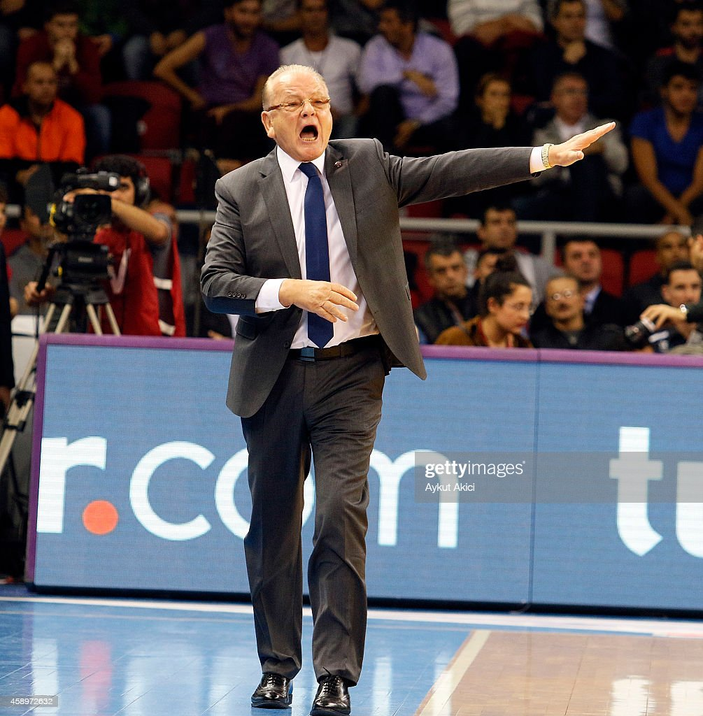 <a gi-track='captionPersonalityLinkClicked' href=/galleries/search?phrase=Dusan+Ivkovic&family=editorial&specificpeople=692169 ng-click='$event.stopPropagation()'>Dusan Ivkovic</a>, Head Coach of Anadolu Efes Istanbul reacts during the 2014-2015 Turkish Airlines Euroleague Basketball Regular Season Date 5 game between Anadolu Efes Istanbul v Real Madrid at Abdi Ipekci Arena on November 14, 2014 in Istanbul, Turkey.