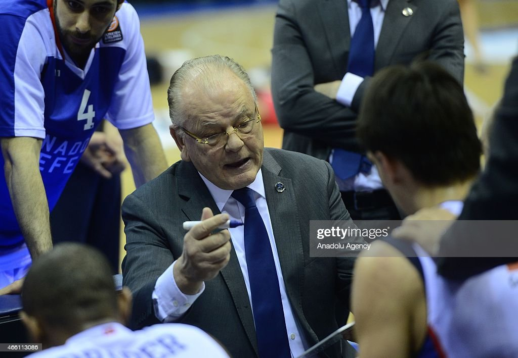 Dusan Ivkovic, head coach of Anadolu Efes reacts during Turkish Airlines Euroleague Top 16, Group F basketball match between CSKA Moscow and Anadolu Efes in Moscow, Russia on March 13, 2015.