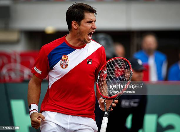 Dusan Lajovic of Serbia celebrates during the Davis Cup Quarter Final match between Serbia and Great Britain on Stadium Tasmajdan on July 16 2016 in...