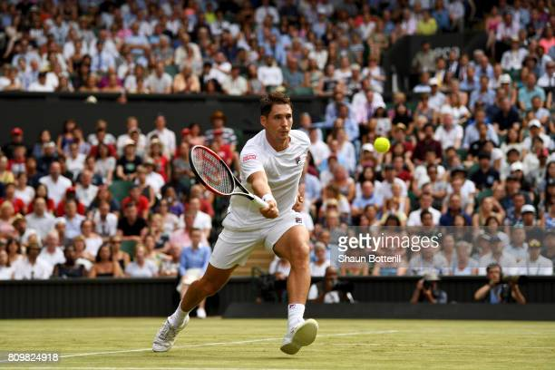 Dusan Lajovic of Serbia plays a forehand during the Gentlemen's Singles second round match against Roger Federer of Switzerland on day four of the...