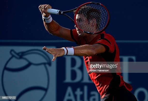 Dusan Lajovic of Serbia returns a shot to Fernando Verdasco of Spain during the BBT Atlanta Open at Atlantic Station on August 2 2016 in Atlanta...