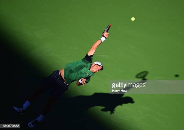 Dusan Lajovic of Serbia serves in his stright set win over Frances Tiafoe at Indian Wells Tennis Garden on March 9 2017 in Indian Wells California