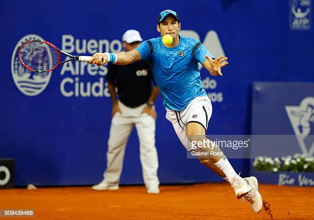 Dusan Lajovic of Serbia takes a forehand shot during a match between John Isner of USA and Dusan Lajovic of Serbia as part of ATP Argentina Open at...