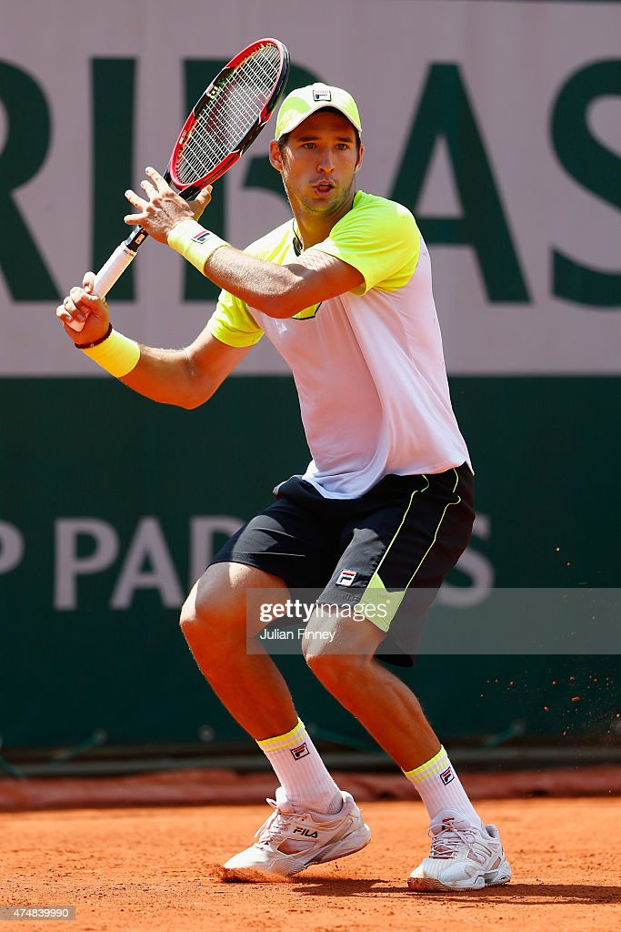 Dusan Lajovic of Serbiain action in his Men's Singles match against Stanislas Wawrinka of Switzerland during day four of the 2015 French Open at Roland Garros on May 27, 2015 in Paris, France.