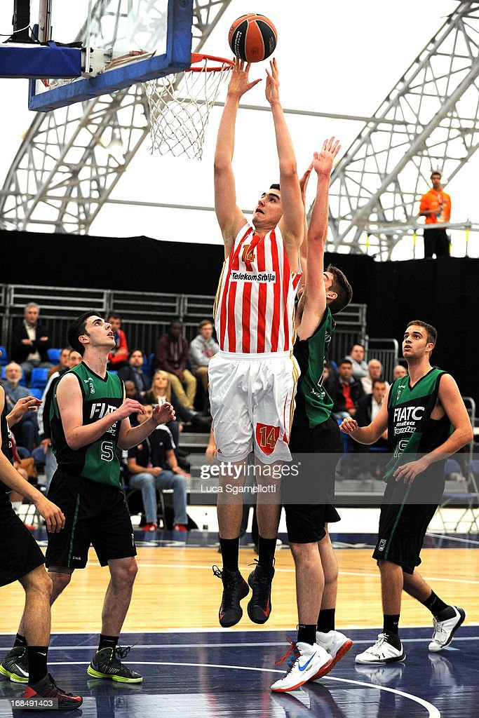 RISTIC, Dusan Ristic #14 of Crvena Zvezda Telekom in action during the Nike International Junior Tournament game between Club Joventut Badalona v Crvena Zvezda Telekom at London Soccerdome on May 10, 2013 in London, United Kingdom.