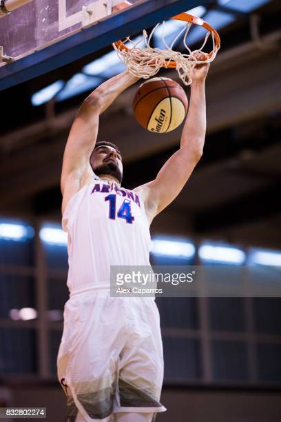 Dusan Ristic of the Arizona Wildcats dunks during the Arizona In Espana Foreign Tour game between Mataro AllStars and Arizona on August 16 2017 in...