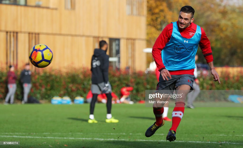 Dusan Tadic during a Southmpton FC training session at the Staplewood Campus on November 16, 2017 in Southampton, England.