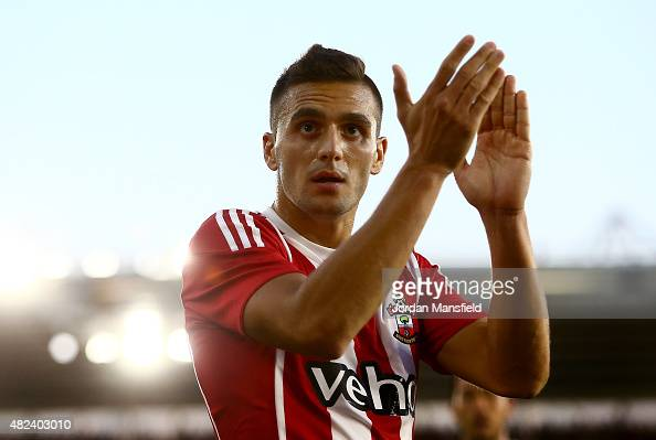 Dusan Tadic of Southampton celebrates after scoring from a penalty to make it 20 during the UEFA Europa League Third Qualifying Round 1st Leg match...