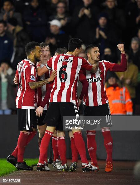 Dusan Tadic of Southampton celebrates scoring his team's second goal with his team mates during the Barclays Premier League match between Southampton...