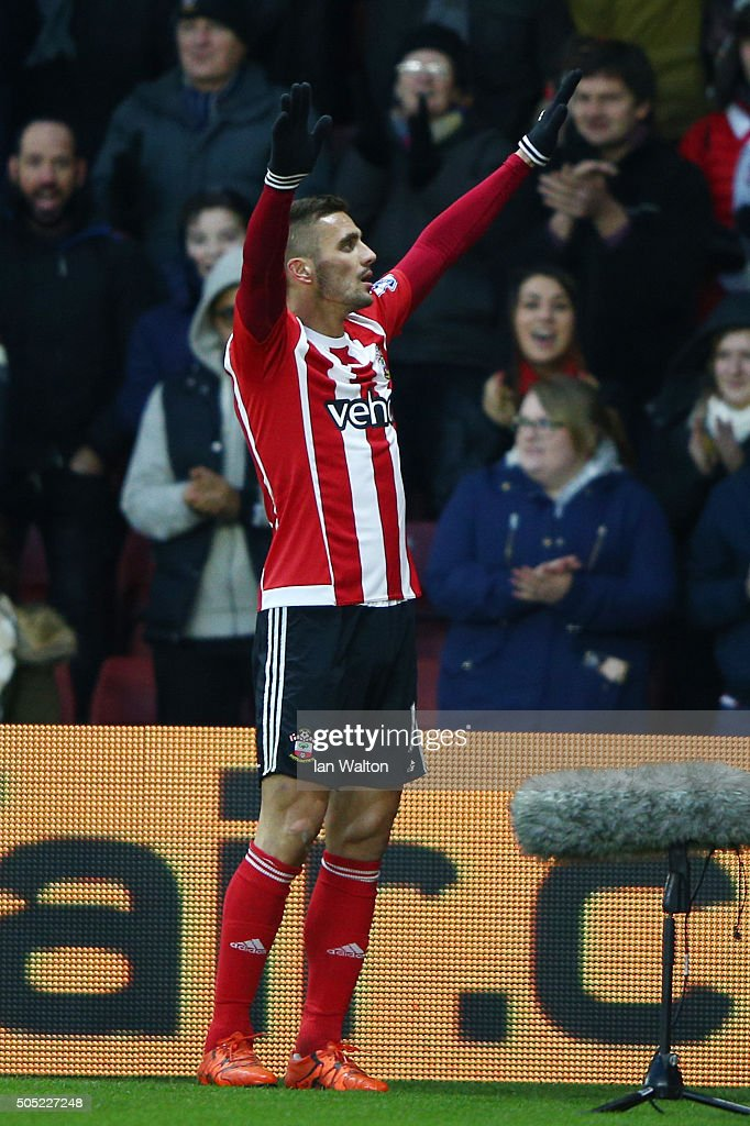 Dusan Tadic of Southampton celebrates scoring his team's third goal during the Barclays Premier League match between Southampton and West Bromwich Albion at St. Mary's Stadium on January 16, 2016 in Southampton, England.