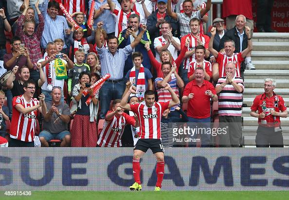 Dusan Tadic of Southampton celebrates scoring the third goal for Southampton during the Barclays Premier League match between Southampton and Norwich...