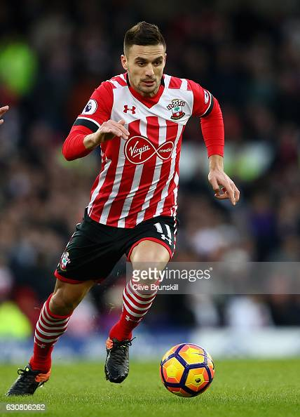 Dusan Tadic of Southampton in action during the Premier League match between Everton and Southampton at Goodison Park on January 2 2017 in Liverpool...