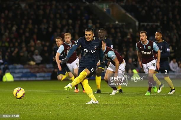 Dusan Tadic of Southampton misses his penalty during the Barclays Premier League match between Burnley and Southampton at Turf Moor on December 13...