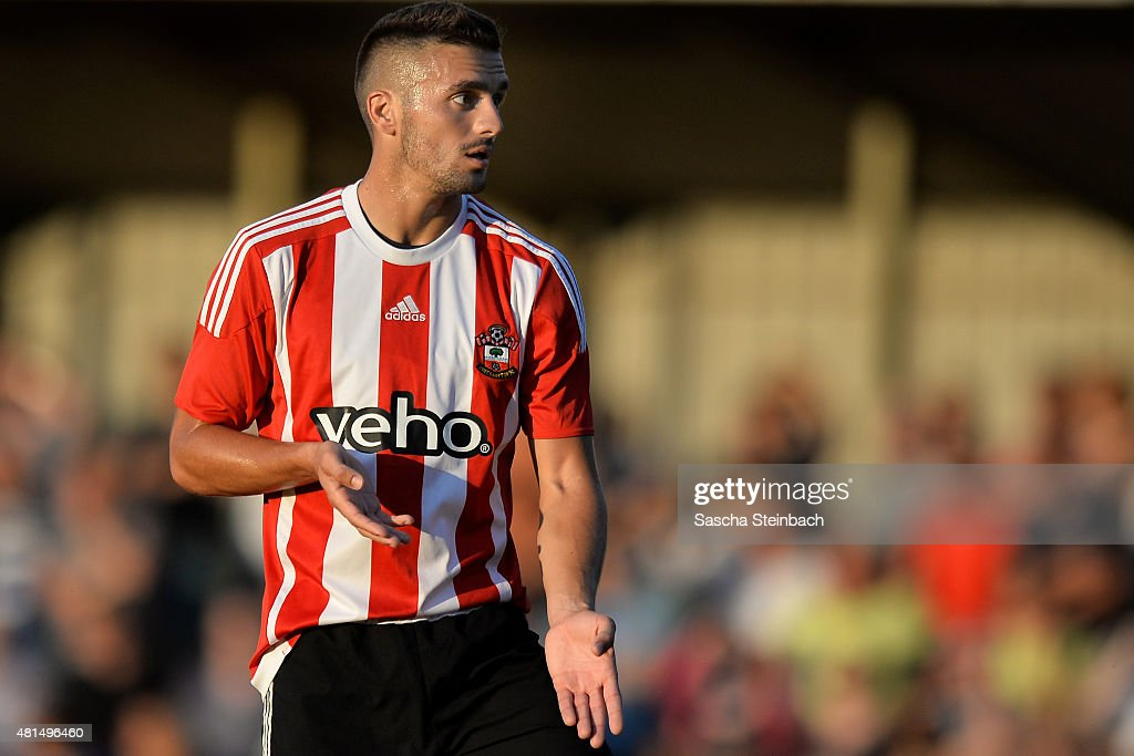 Dusan Tadic of Southampton reacts during the friendly match between KVV Quick 1920 and FC Southampton at Sportpark De Vondersweijde on July 21, 2015 in Oldenzaal, Netherlands.