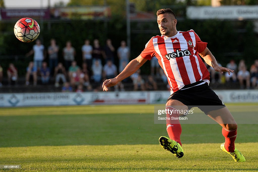 Dusan Tadic of Southampton vies for the ball during the friendly match between KVV Quick 1920 and FC Southampton at Sportpark De Vondersweijde on July 21, 2015 in Oldenzaal, Netherlands.