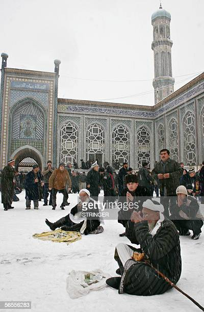 Tajik Muslims perform prayers at a mosque in Dushanbe 10 January 2006 on the eve of the Muslim festival of Eid alAdha the feast of sacrifice and...