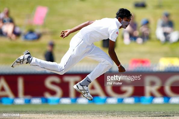 Dushmantha Chameera of Sri Lanka bowls during day four of the Second Test match between New Zealand and Sri Lanka at Seddon Park on December 21 2015...