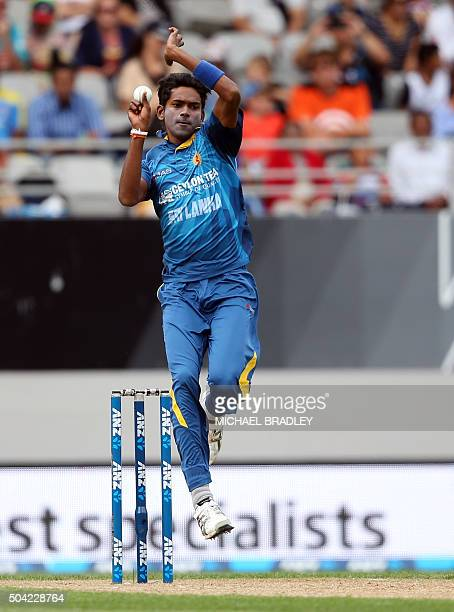 Dushmantha Chameera of Sri Lanka bowls during the second T20 cricket match between New Zealand and Sri Lanka at Eden Park in Auckland on January 10...