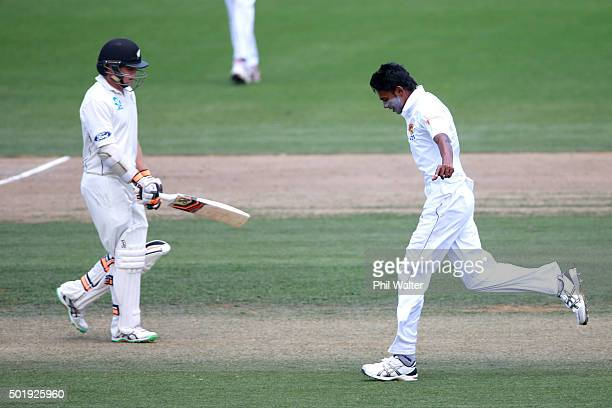Dushmantha Chameera of Sri Lanka celebrates his wicket of Tom Latham of New Zealand during day two of the Second Test match between New Zealand and...