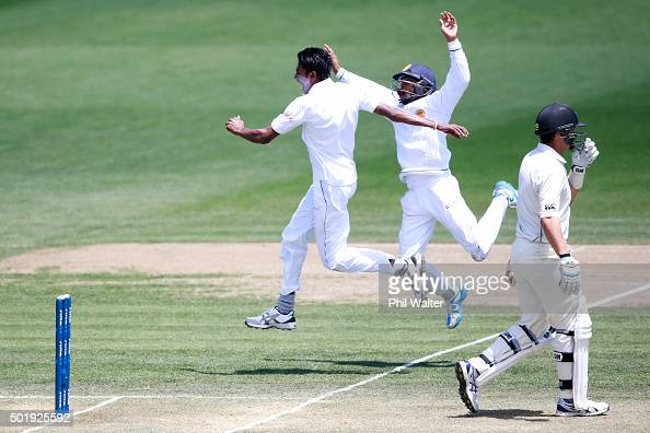 Dushmantha Chameera of Sri Lanka celebrates with Kusal Mendis his wicket of Ross Taylor of New Zealand during day two of the Second Test match...