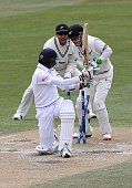 Dushmantha Chameera of Sri Lanka is bowled by Mitchell Santner of New Zealand during day five of the First Test match between New Zealand and Sri...